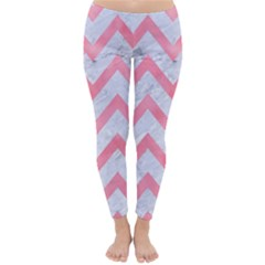 Chevron9 White Marble & Pink Watercolor (r) Classic Winter Leggings