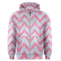 Chevron9 White Marble & Pink Watercolor (r) Men s Zipper Hoodie