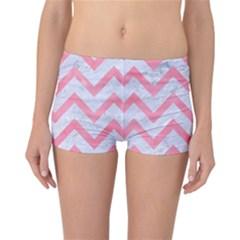 Chevron9 White Marble & Pink Watercolor (r) Reversible Boyleg Bikini Bottoms