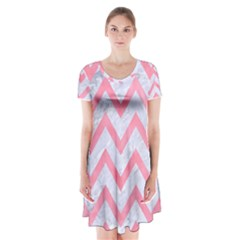 Chevron9 White Marble & Pink Watercolor (r) Short Sleeve V Neck Flare Dress