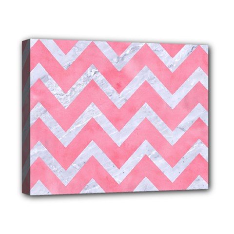 Chevron9 White Marble & Pink Watercolor Canvas 10  X 8