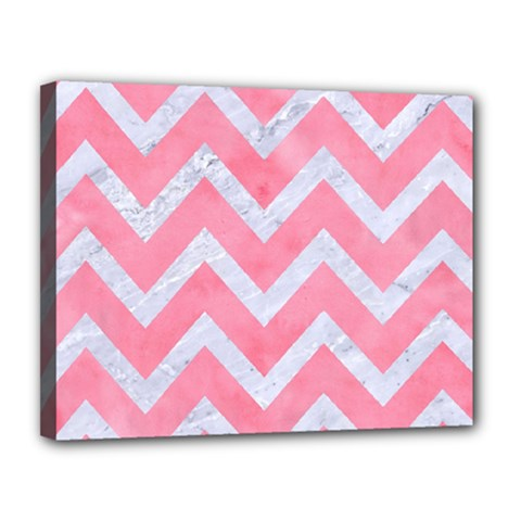 Chevron9 White Marble & Pink Watercolor Canvas 14  X 11