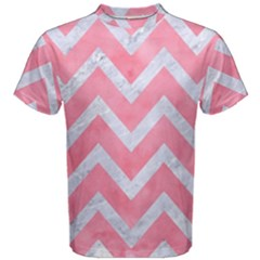 Chevron9 White Marble & Pink Watercolor Men s Cotton Tee