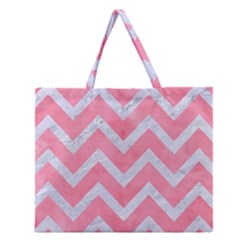 Chevron9 White Marble & Pink Watercolor Zipper Large Tote Bag
