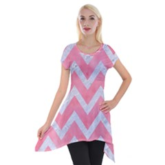 Chevron9 White Marble & Pink Watercolor Short Sleeve Side Drop Tunic