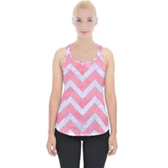 Chevron9 White Marble & Pink Watercolor Piece Up Tank Top