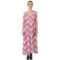 Chevron9 White Marble & Pink Watercolor Button Up Boho Maxi Dress