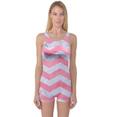 Chevron3 White Marble & Pink Watercolor One Piece Boyleg Swimsuit