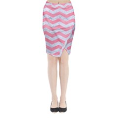 Chevron3 White Marble & Pink Watercolor Midi Wrap Pencil Skirt