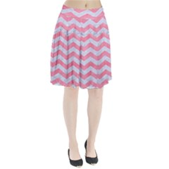 Chevron3 White Marble & Pink Watercolor Pleated Skirt