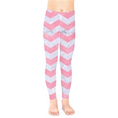 Chevron3 White Marble & Pink Watercolor Kids  Legging