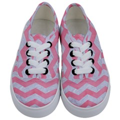 Chevron3 White Marble & Pink Watercolor Kids  Classic Low Top Sneakers