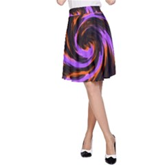 Swirl Black Purple Orange A Line Skirt