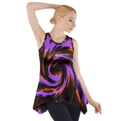 Swirl Black Purple Orange Side Drop Tank Tunic
