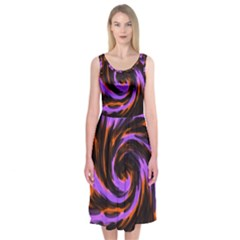 Swirl Black Purple Orange Midi Sleeveless Dress