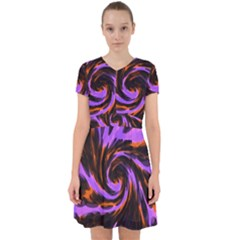 Swirl Black Purple Orange Adorable In Chiffon Dress