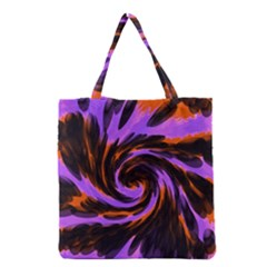 Swirl Black Purple Orange Grocery Tote Bag by BrightVibesDesign
