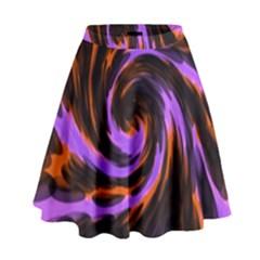 Swirl Black Purple Orange High Waist Skirt by BrightVibesDesign