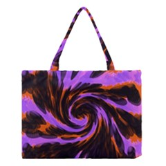 Swirl Black Purple Orange Medium Tote Bag by BrightVibesDesign