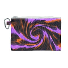 Swirl Black Purple Orange Canvas Cosmetic Bag (large)