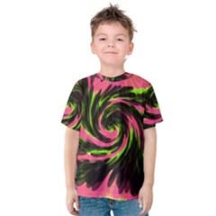 Swirl Black Pink Green Kids  Cotton Tee
