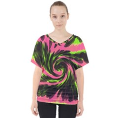 Swirl Black Pink Green V Neck Dolman Drape Top