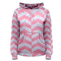 Chevron2 White Marble & Pink Watercolor Women s Pullover Hoodie