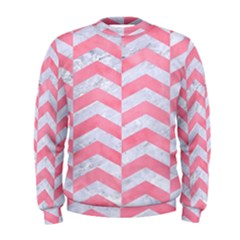 Chevron2 White Marble & Pink Watercolor Men s Sweatshirt