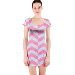 Chevron2 White Marble & Pink Watercolor Short Sleeve Bodycon Dress