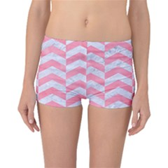 Chevron2 White Marble & Pink Watercolor Boyleg Bikini Bottoms