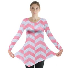 Chevron2 White Marble & Pink Watercolor Long Sleeve Tunic