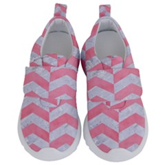 Chevron2 White Marble & Pink Watercolor Velcro Strap Shoes