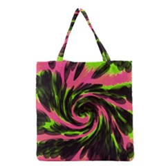 Swirl Black Pink Green Grocery Tote Bag by BrightVibesDesign