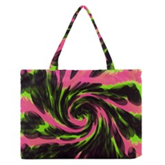 Swirl Black Pink Green Zipper Medium Tote Bag by BrightVibesDesign