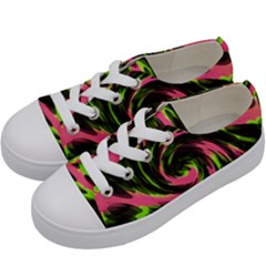 Swirl Black Pink Green Kids  Low Top Canvas Sneakers by BrightVibesDesign