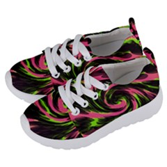 Swirl Black Pink Green Kids  Lightweight Sports Shoes by BrightVibesDesign
