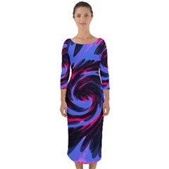 Swirl Black Blue Pink Quarter Sleeve Midi Bodycon Dress