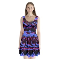 Swirl Black Blue Pink Split Back Mini Dress