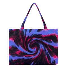 Swirl Black Blue Pink Medium Tote Bag by BrightVibesDesign
