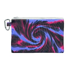 Swirl Black Blue Pink Canvas Cosmetic Bag (large) by BrightVibesDesign