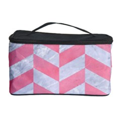 Chevron1 White Marble & Pink Watercolor Cosmetic Storage Case