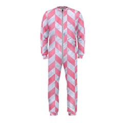 Chevron1 White Marble & Pink Watercolor Onepiece Jumpsuit (kids)