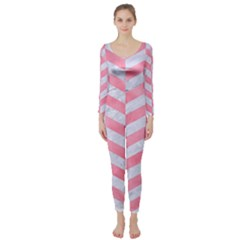 Chevron1 White Marble & Pink Watercolor Long Sleeve Catsuit