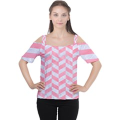 Chevron1 White Marble & Pink Watercolor Cutout Shoulder Tee