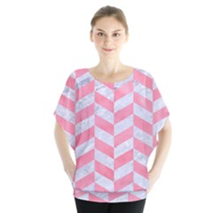 Chevron1 White Marble & Pink Watercolor Blouse