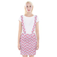 Chevron1 White Marble & Pink Watercolor Braces Suspender Skirt