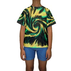 Swirl Black Yellow Green Kids  Short Sleeve Swimwear