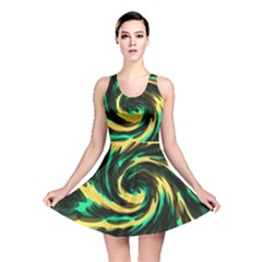 Swirl Black Yellow Green Reversible Skater Dress