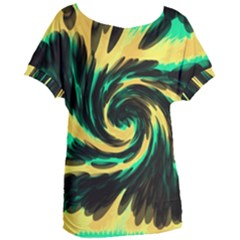 Swirl Black Yellow Green Women s Oversized Tee