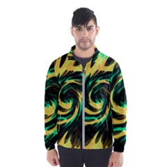 Swirl Black Yellow Green Windbreaker (men)